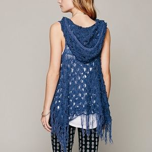 Free People blue crochet hoodie vest